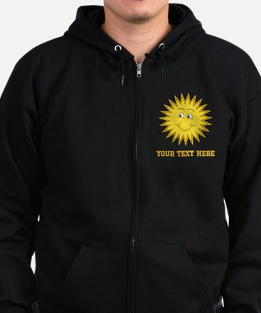 Sun with Custom Text. Zip Hoodie (dark)
