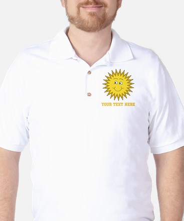 Sun with Custom Text. Golf Shirt