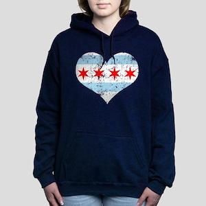 Chicago Flag Heart Hooded Sweatshirt