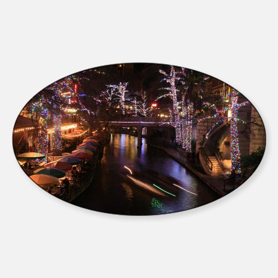 New Lights San Antonio Riverwalk 20 Sticker (Oval)