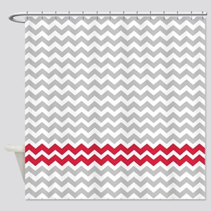Gray and deep red chevrons Shower Curtain