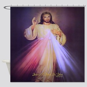 Divine Mercy Gold Shower Curtain