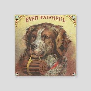 "Vintage Label Ever Faithful Square Sticker 3"" x 3"""