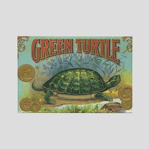 Vintage Label Green Turtle Rectangle Magnet