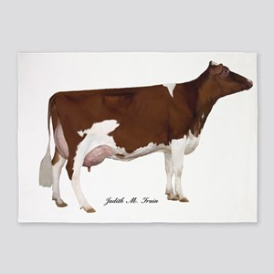Red and White Holstein Milk Cow 5'x7'Area Rug