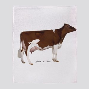 Red and White Holstein Milk Cow Throw Blanket