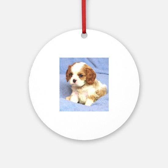 Cavalier Puppy Wilmington Round Ornament