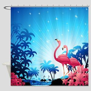 Pink Flamingos on Blue Tropical Landscape Shower C