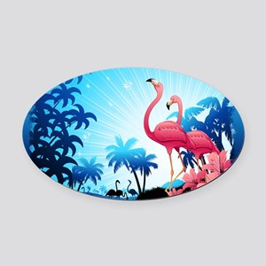 Pink Flamingos on Blue Tropical Landscape Oval Car