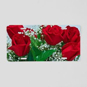 Red Roses Aluminum License Plate