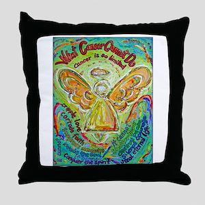 Rainbow Cancer Angel Throw Pillow