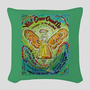 Rainbow Cancer Angel Woven Throw Pillow