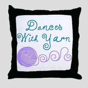 DancesWithYarnDark.png Throw Pillow