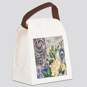 white rose peacock feather vintag Canvas Lunch Bag