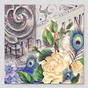 """white rose peacock feath Square Car Magnet 3"""" x 3"""""""