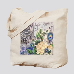 white rose peacock feather vintage floral Tote Bag