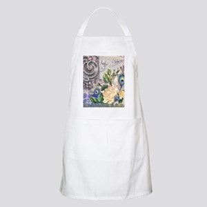 white rose peacock feather vintage floral Apron
