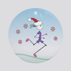 Holiday Girl Runner Ornament (Round)