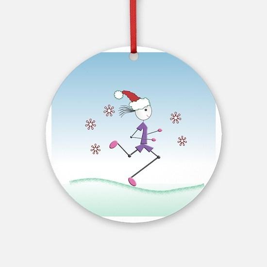 Holiday Girl Runner Ornament (Round)