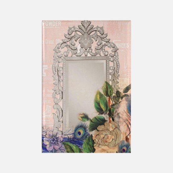 victorian art white rose peacock  Rectangle Magnet