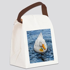 DUCK with flower Canvas Lunch Bag