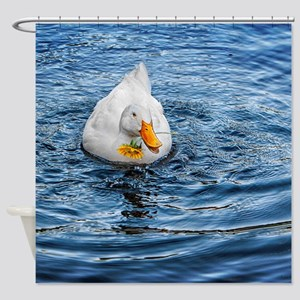 SHOWER CURTAIN: Duck Holding Flower