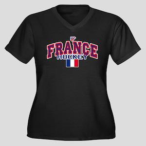 FR France Hockey Women's Plus Size V-Neck Dark T-S