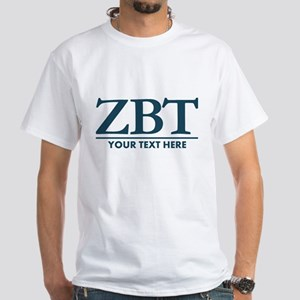 Zeta Beta Tau Fraternity Letters wit White T-Shirt