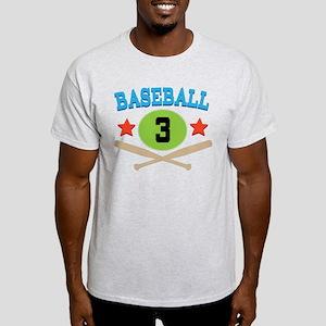 Baseball Player Number 3 Light T-Shirt