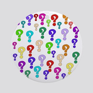 Rainbow Of Question Marks Round Ornament