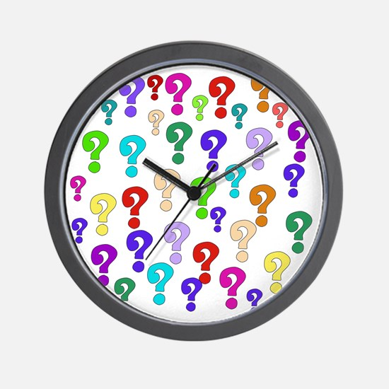 Rainbow Of Question Marks Wall Clock