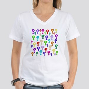 Rainbow Of Question Marks Women's V-Neck T-Shirt