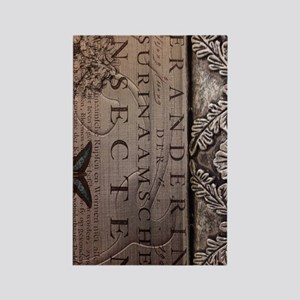 paris botanical art vintage scrip Rectangle Magnet