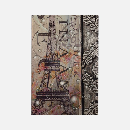 paris eiffel tower botanical art  Rectangle Magnet