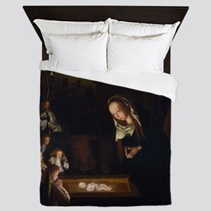 Nativity at Night Queen Duvet