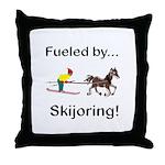 Skijoring Horse Throw Pillow