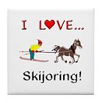Skijoring Horse Tile Coaster