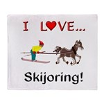 Skijoring Horse Throw Blanket