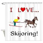Skijoring Horse Shower Curtain