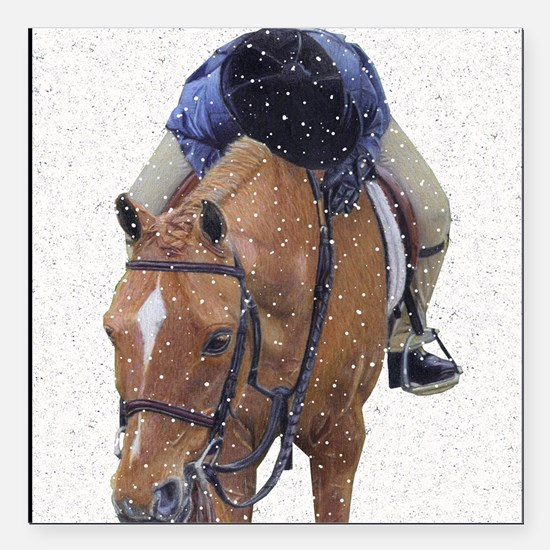 "Snowy Winter Pony Square Car Magnet 3"" x 3"""