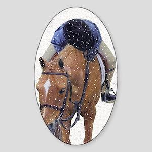 Snowy Winter Pony Sticker (Oval)
