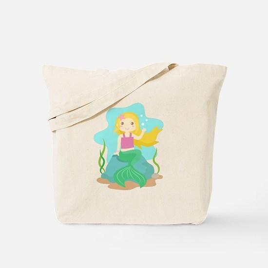 Cute and Beautiful Mermaid under the sea Tote Bag