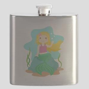 Cute and Beautiful Mermaid under the sea Flask