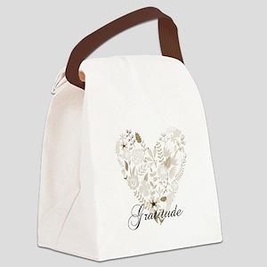 Gratitude Heart Canvas Lunch Bag