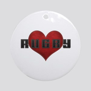 Love Rugby Leather Finish Look Ornament (Round)