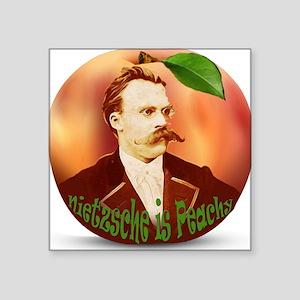 """Nietzsche is Peachy Square Sticker 3"""" x 3"""""""
