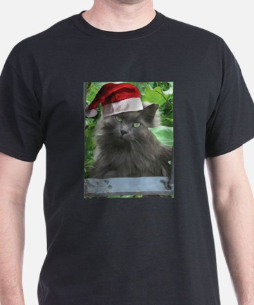 Christmas Russian Blue Long-haired Cat T-Shirt