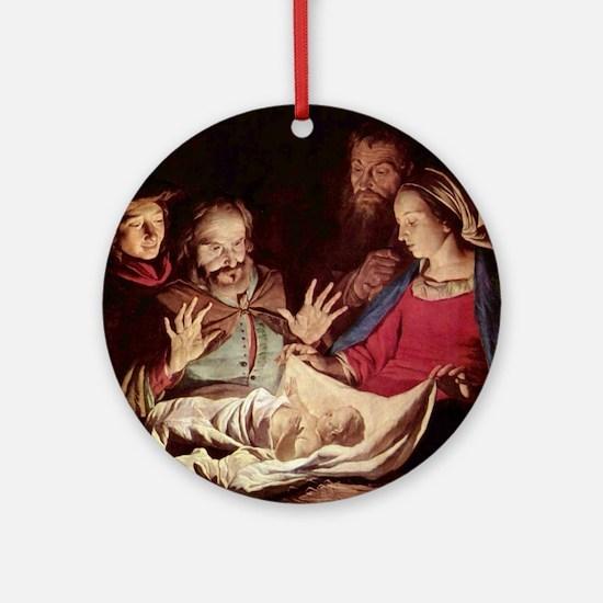 Nativity by Gerard van Honthorst Ornament (Round)