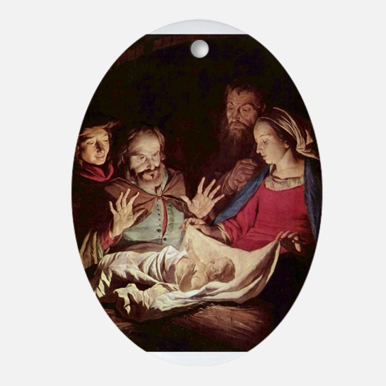 Nativity by Gerard van Honthorst Ornament (Oval)