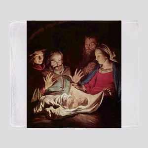 Nativity by Gerard van Honthorst Throw Blanket